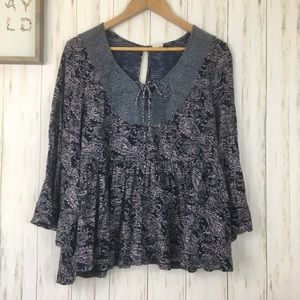 Anthropologie Akemi + Kin Marcella Lace Up top M